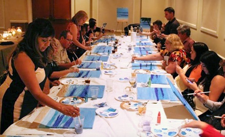 2.5-Hour Painting Class for One with Wine and Appetizers (a $59 value) - Canvas, Paint and Wine, Oh My! in Huntington Beach