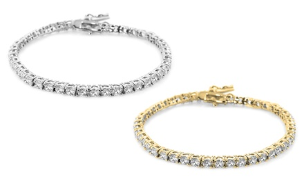 Cubic Zirconia Tennis Bracelet in 18K White-Gold- or 14K Gold-Plating
