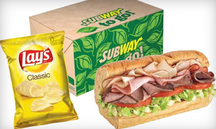 Subway - Multiple Locations: 10 Boxed Lunches with a 6-Inch Sandwich, Chips, and Cookie with Option for Bottled Drink at Subway (Up to 49% Off)