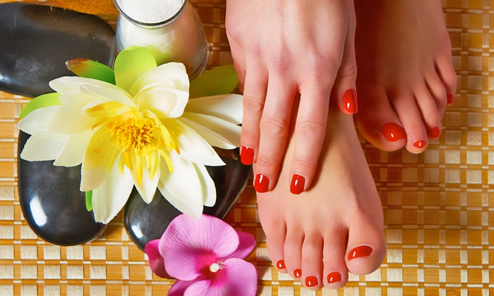 Tropical Oasis Nail Salon and Spa - Freret: Manicure and Pedicure with Complimentary Wine at Tropical Oasis Nail Salon and Spa (Up to 49% Off).