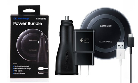 Samsung Adaptive Fast-Charging Power Bundle: Dual Charger, Charge Pad, Cables; Also Compatible w/ iPhone X, 8, & 8 Plus