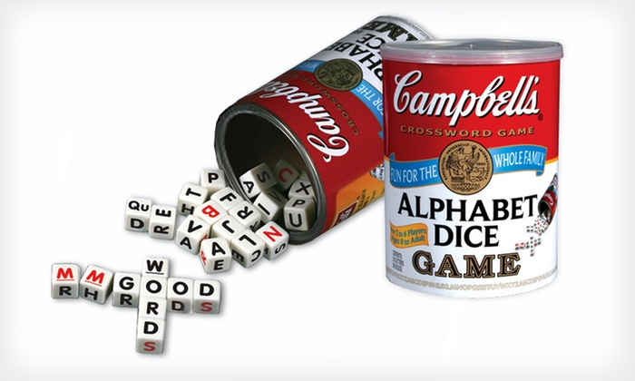 Campbell's Alphabet Dice Game: $9 for the Campbell's Alphabet Dice Game ($17.96 List Price). Free Shipping.