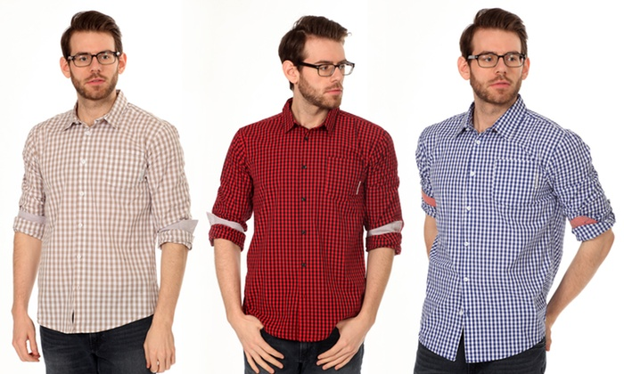 Filthy Etiquette Men's Chase Gingham Button-Up Shirt: Filthy Etiquette Men's Chase 100% Cotton Gingham Button-Up Shirt. Multiple Colors Available. Free Returns.