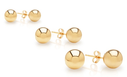 14K Solid Gold Ball Studs