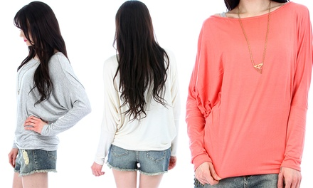 Women's Dolman-Sleeve Tops in Standard and Plus Sizes