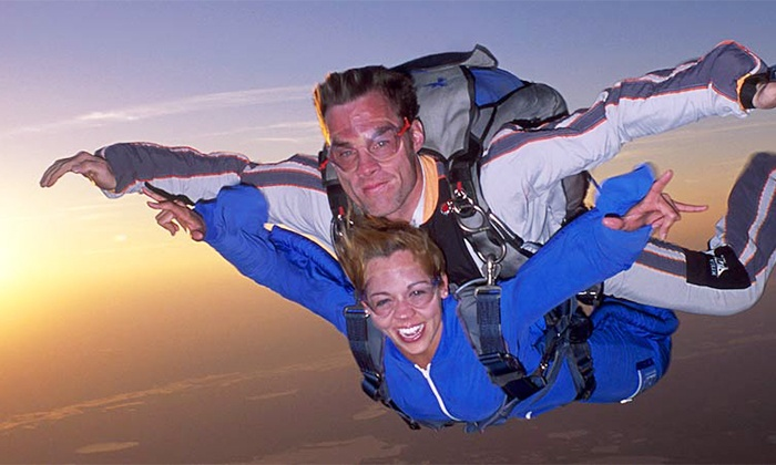 Boston Skydive Center - North Central Airport: Ultimate Tandem Skydive Package with T-Shirt from Boston Skydive Center (Up to 44% Off). Two Options Available.