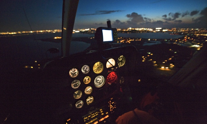 The HeliTeam - HQ Aviation: Night Helicopter Tour with Champagne Two or Four from The HeliTeam (Up to 54% Off)