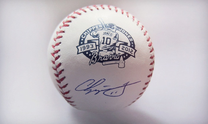 Powers Collectibles: $199 for Autographed Chipper Jones Retirement Baseball with from Powers Collectibles ($408.95 Value)
