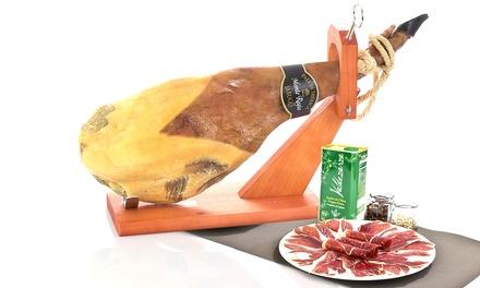 Serrano of Iberische ham, naar keuze met houder, olijfolie en méér, gratis levering