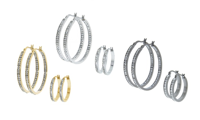 Crystal Hoop Earring Sets: $14.99 for Princess- and Round-Cut Crystal Hoop Earrings ($49.99 List Price). Four Options Available. Free Returns.