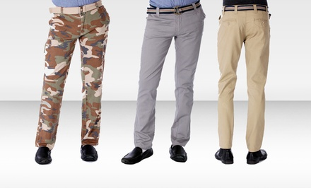 Red Snap Men's Twill Chino and Cargo Pants