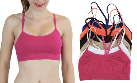 Double-Layered Y-Back Sports Bralettes (6-Pack)