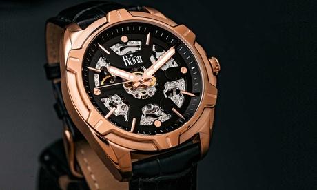 Relojes para hombre Reign modelo Carlisle con correa de cuero auténtico o de acero inoxidable