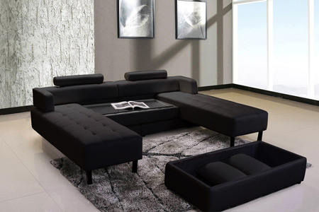 canap d 39 angle r versible et convertible avec pouf coffre table basse groupon shopping. Black Bedroom Furniture Sets. Home Design Ideas