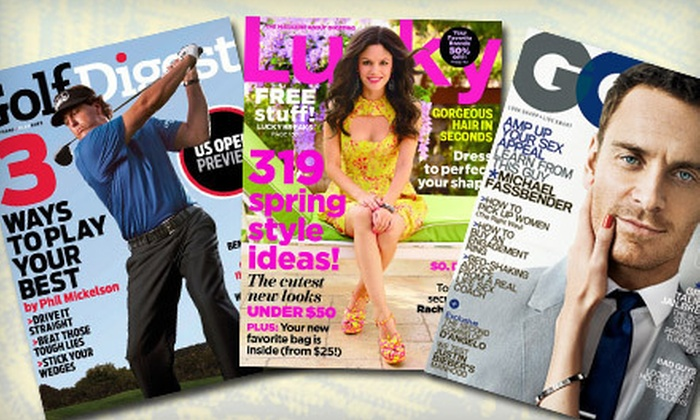 """Blue Dolphin Magazines: One-Year Subscription to """"GQ,"""" """"Golf Digest,"""" or """"Lucky"""" from Blue Dolphin Magazines (Up to 60% Off)"""
