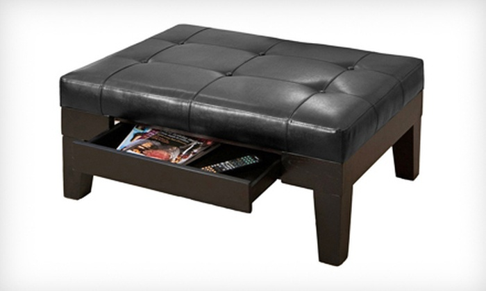 Tucson Black Leather Storage Ottoman: $129 for a Tucson Black Leather Storage Ottoman ($299.99 List Price). Free Shipping.