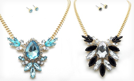 groupon daily deal - 18-Karat Gold-Plated Statement Necklaces and Stud Earrings. Multiple Styles and Colors Available.