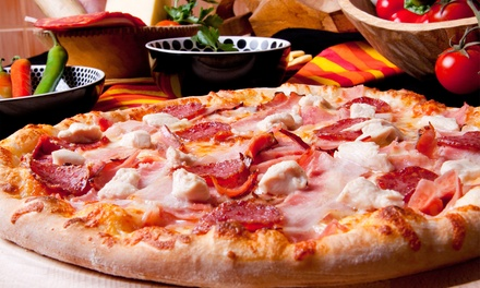 Pizza Greek Food at George's Pizza & Steak House (Up to 45% Off). Three Options Available.
