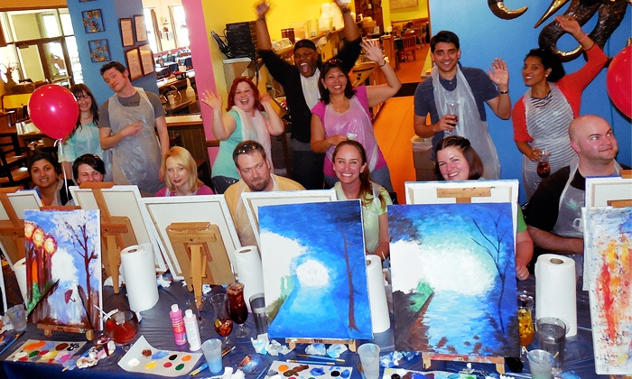 Art by the Glazz - Multiple Locations: Adult Painting Session for 1, 2, 4, or 10, or an Art Event or Team-Building Activity (Up to 55% Off)
