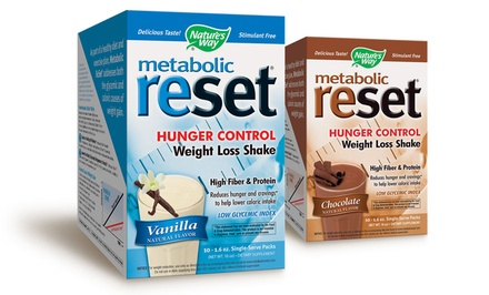 Metabolic Reset Hunger Control Weight Loss Shake in Chocolate or Vanilla; 10 Single-Serve Packets