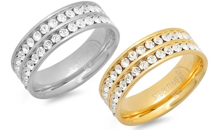 Double Row Cubic Zirconia Eternity Band Ring