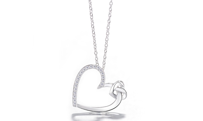 8bb1b4479a77f Sterling Silver Heart Necklace Made with Swarovski Elements