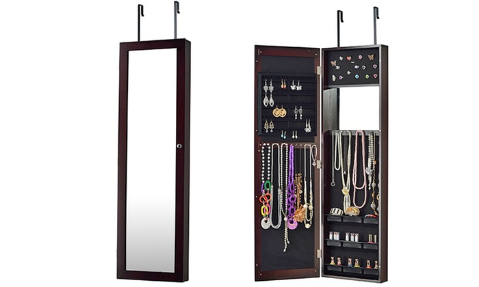 overthedoor jewelry armoire with fulllength mirror overthe