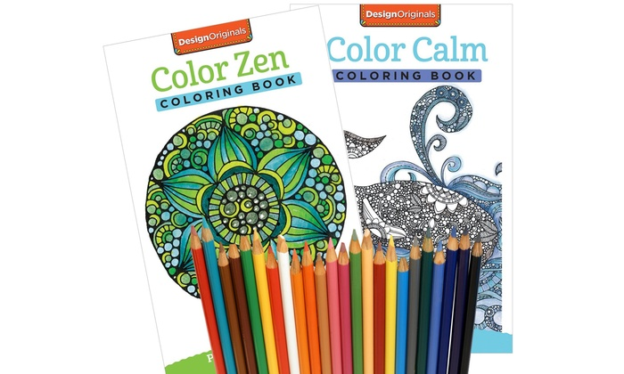 2 Pack Of Adult Coloring Books With Single Box Colored Pencils