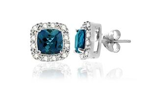 2.10 Cttw London Blue Topaz And Diamond Earrings