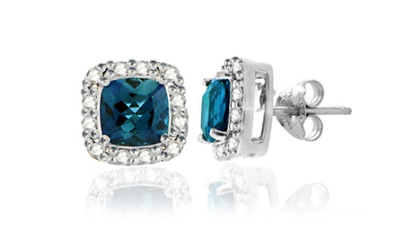 2.10 CTTW London Blue Topaz and Diamond Earrings