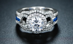 Lab-Created Sapphire and Cubic Zirconia Halo Ring Set by Hobart