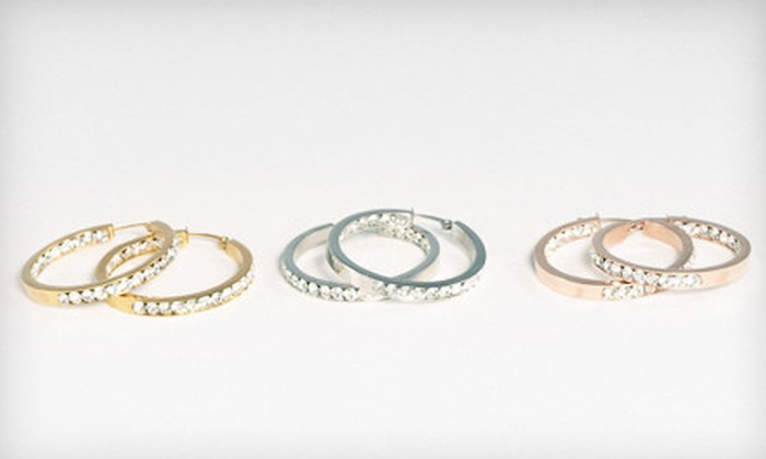 Liquidation Channel: $19 for Crystal Hoop Earrings in 18-Karat Yellow Gold, Rose Gold, and Stainless Steel ($100 List Price). Free Shipping.