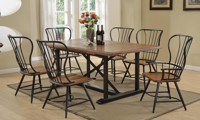 Copenhagen 7 piece dining set groupon goods for Dining table set deals