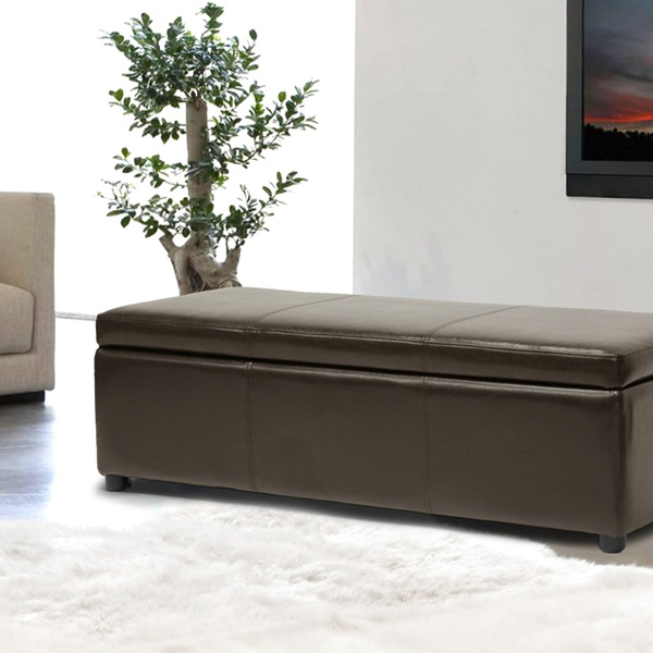 Outstanding Baxton Studio Bonded Leather Storage Bench Ottoman In Black Or Dark Brown Caraccident5 Cool Chair Designs And Ideas Caraccident5Info