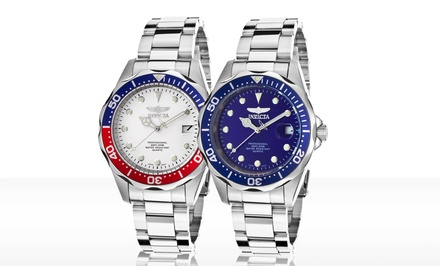 Invicta Men's Pro Diver Watch in Silver/Dark Blue or Silver/White. Free Returns.