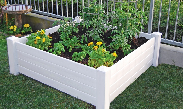 4x4 White Vinyl Garden Bed Groupon