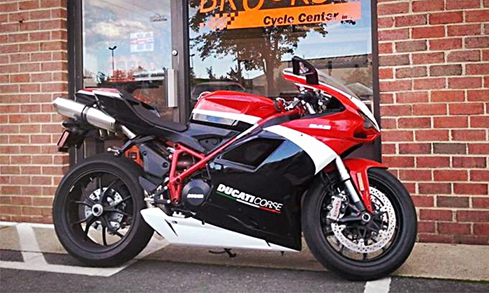 Brooks' Cycle Center - Chantilly: Front-and-Rear Tire Change for Motorcycle, or a Motorcycle Tune-Up (50% Off)
