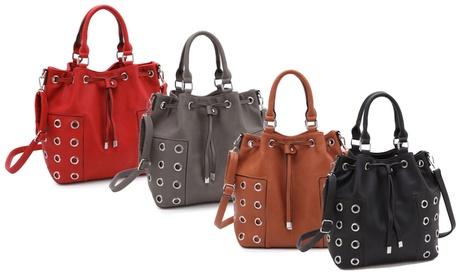 MMK Collection Vegan-Leather Grommet-Design Bucket Hobo Handbag f4ef980a-239e-47c2-bd3c-cd8969b2b9eb