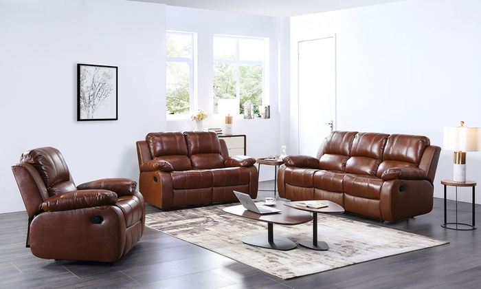 Amazing Valencia Leather Recliner Sofa Groupon Goods Ibusinesslaw Wood Chair Design Ideas Ibusinesslaworg