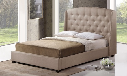 Tufted Wingback Upholstered Platform Bed in Beige Linen. Available in Queen or King Size.