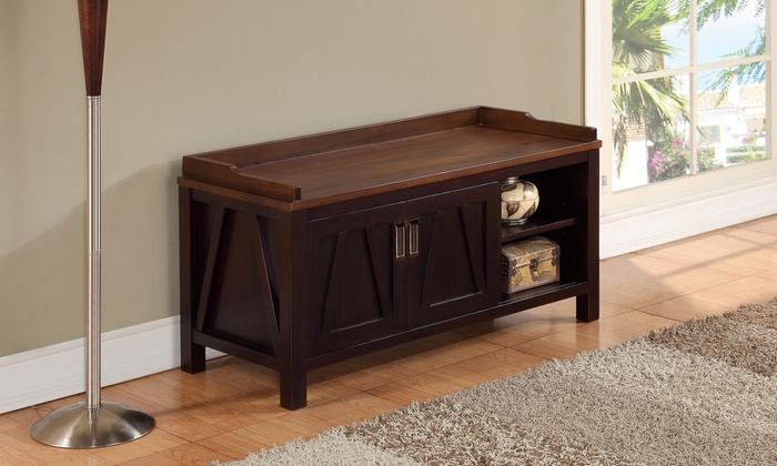 Simpli Home Dorset Entryway Storage Bench ...
