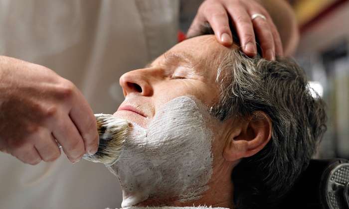 Barber's Gallery - Oak Park: Haircut and Hot Shave with Optional Mild Facial at Barber's Gallery (51% Off)