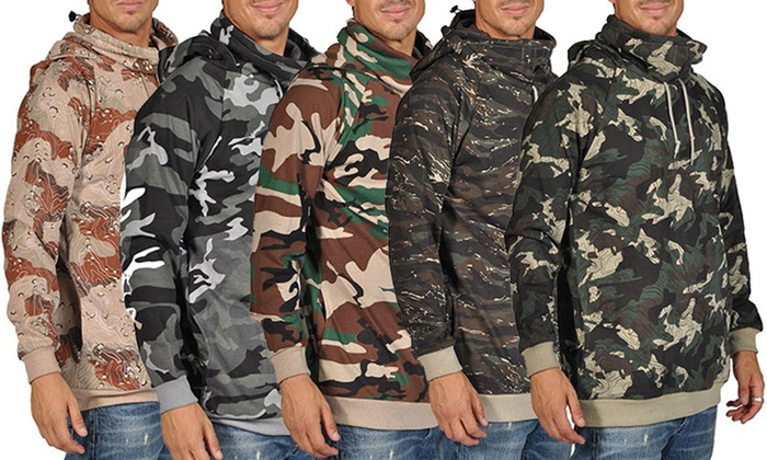 ARSNL Men's Fashion Camouflage Hoodies with Built in Scarf