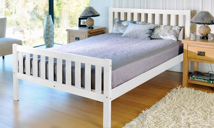 Solid Pine Bed Frame from £84.98 or with Mattress from £144.98 With Free Delivery (Up to 77% Off)