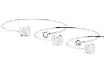 Initial Bangle with Swarovski Elements