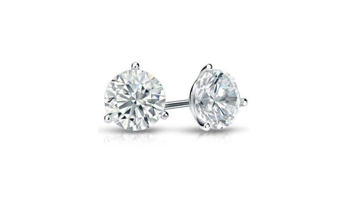 af9bf73d3 2 CTTW Certified Diamond Martini Stud Earrings in White Gold | Groupon
