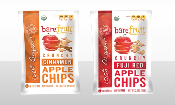 12-Pack of Bare Fruit Organic Apple Chips: 12-Pack of Bare Fruit Organic Apple Chips. Multiple Flavors Available.