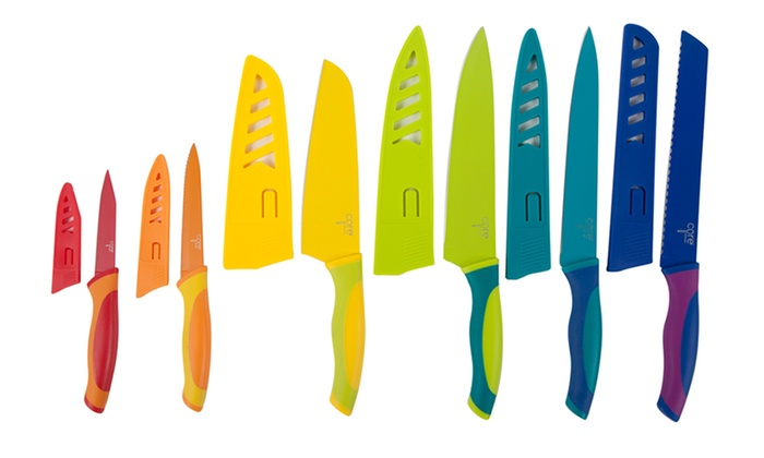 Core Kitchen Colorful 6-Knife Set: Set of 6 Core Kitchen High Carbon Stainless Steel Knives with Sheaths