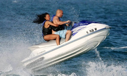 $91 for One-Hour Jet-Ski Rental and Two All-Day Chaise-Lounge Rentals from Miami BeachSports in Miami Beach ($190 Value)