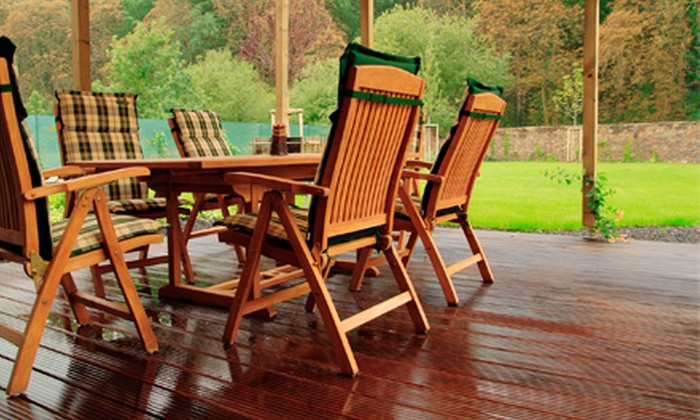 Five Star Fence and Stain - Garland: Staining with Optional Cleaning for a Small or Large Deck or Fence from Five Star Fence and Stain (Up to 78% Off)